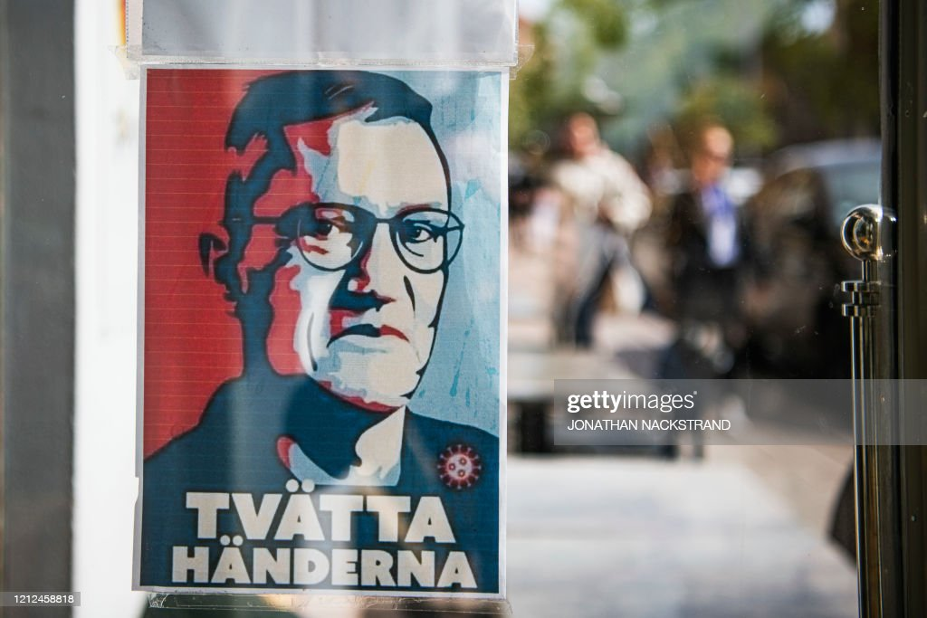 A Sign With A Portrait Of Anders Tegnell The Face Of The Country S News Photo Getty Images