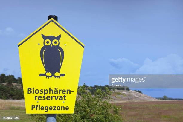 Sign with biosphere reserve logo in the Inland Dunes by Klein Schmšlen near the Elbe river Mecklenburg Elbe Valley Nature Park / Mecklenburgisches...