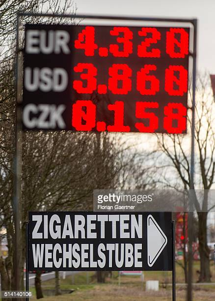 A sign with exchange rates stands near the germanpolish border on February 08 2016 in Zgorzelec Poland