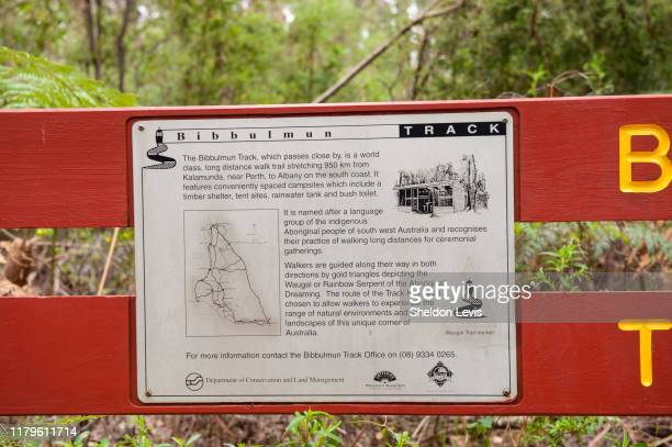 sign with infomation about the world-renowned bibbulman track in the south-west of western austraila - by sheldon levis stock pictures, royalty-free photos & images