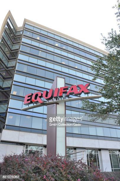 Sign with logo and a portion of the main building are visible at the headquarters of credit bureau Equifax in downtown Atlanta Georgia September 20...