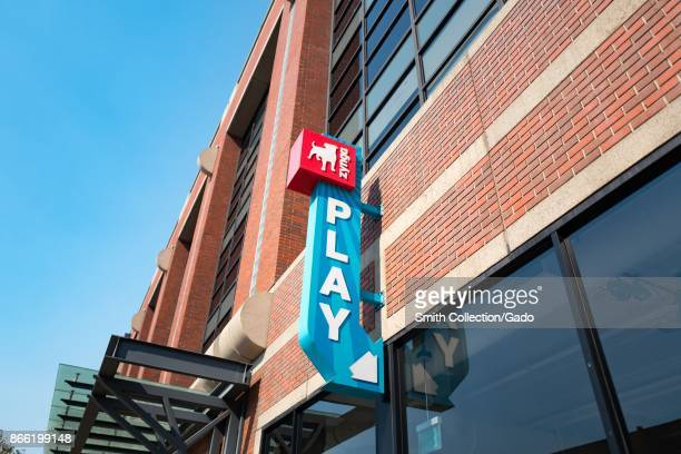 Sign with logo and text reading 'Play' at the headquarters of social gaming company Zynga in the South of Market neighborhood of San Francisco...