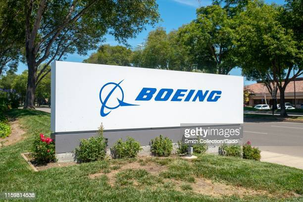 Sign with logo at entrance to office of aerospace company Boeing in Pleasanton California July 2 2019