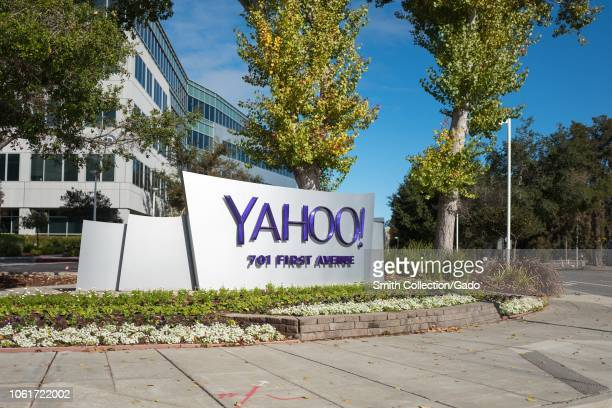 Sign with logo at entrance to regional headquarters of Internet company Yahoo in the Silicon Valley town of Sunnyvale California October 28 2018