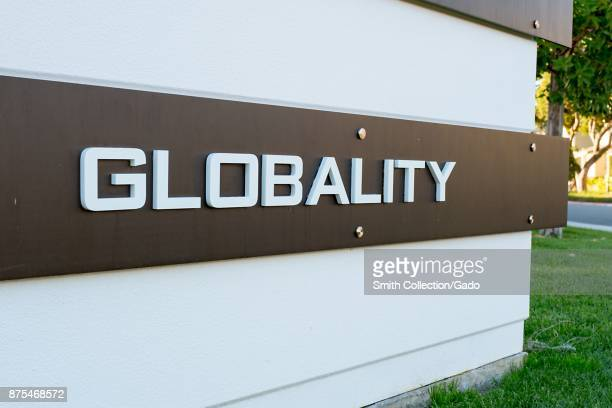 Sign with logo at headquarters of business services and outsourcing company Globality in Silicon Valley Menlo Park California November 14 2017