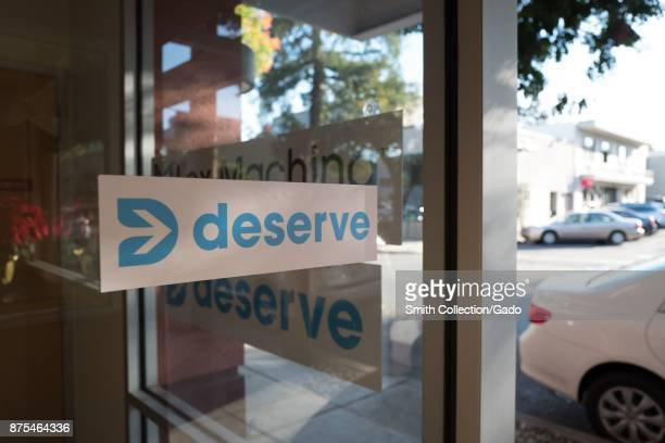 Sign with logo at headquarters of financial technology startup Deserve in the Silicon Valley Menlo Park California November 14 2017