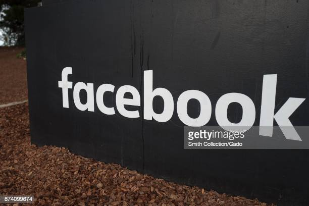 Sign with logo at the headquarters of social network company Facebook in Silicon Valley Menlo Park California November 10 2017