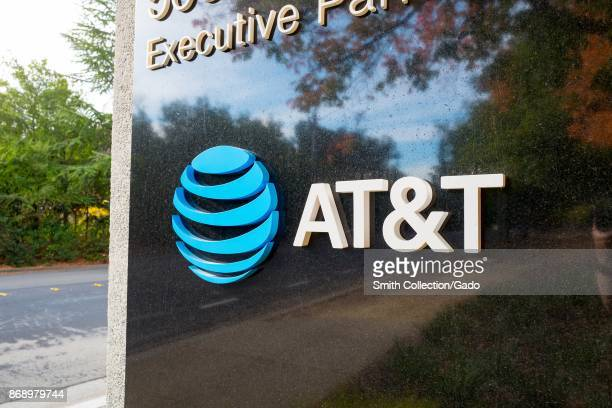 Sign with logo at the regional headquarters of telecommunications company ATT in the Bishop Ranch office park in San Ramon California October 20 2017