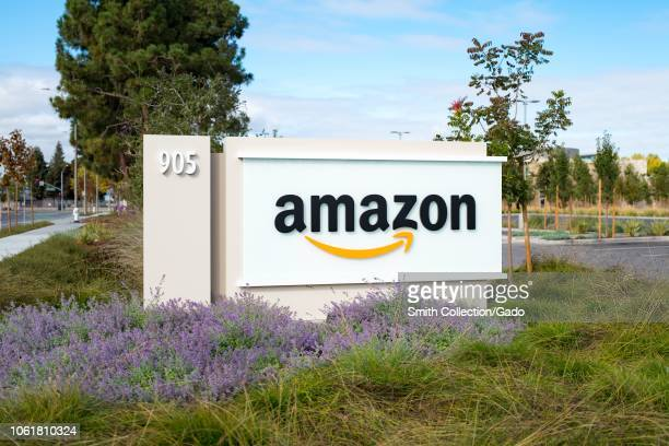 Sign with logo for ecommerce company Amazon at the company's regional headquarters in the Silicon Valley town of Sunnyvale, California, October 28,...
