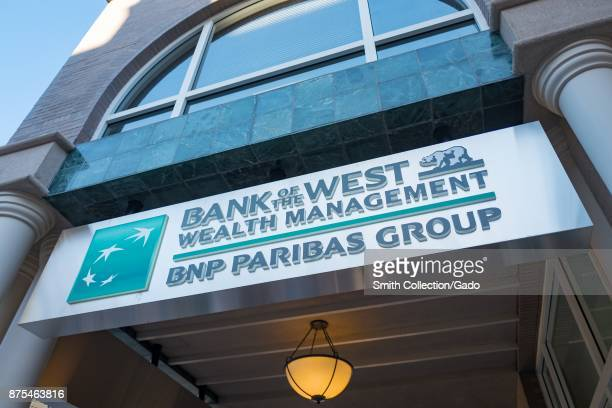 Sign with logo for Wealth Management branch of Bank of the West, a division of BNP Paribas Group, off of University Avenue in Silicon Valley, Palo...