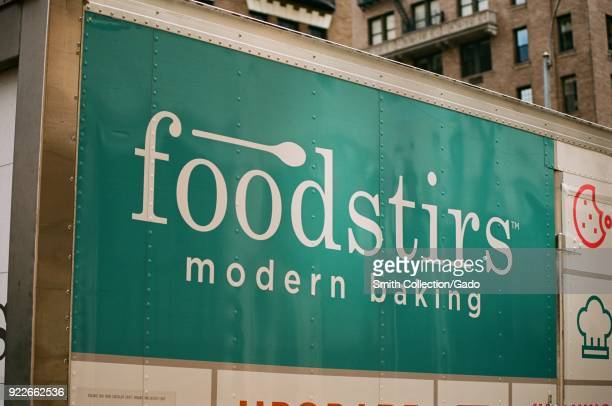 Sign with logo on delivery truck for the organic premium cooking kit company Foodstirs on the Upper East Side of Manhattan New York City New York...