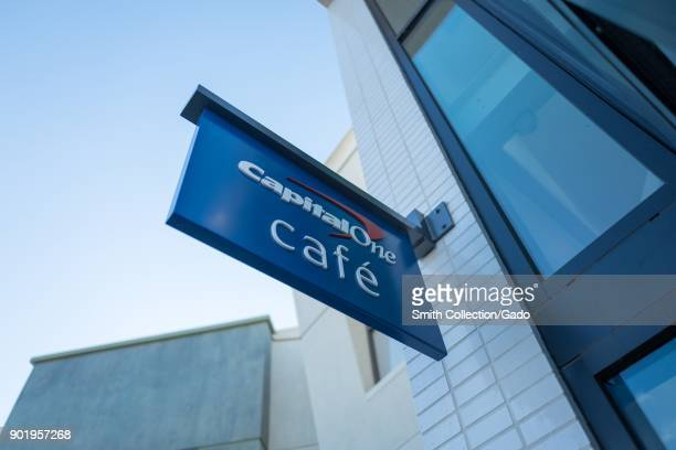 Sign with logo on facade of the Capital One Cafe a combined banking center and cafe in downtown Walnut Creek California November 17 2017