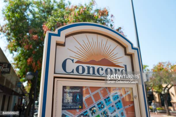 """Sign with logo reading """"Concord"""" and a map showing stores on Todos Santos Plaza, in downtown Concord, California, September 8, 2017. ."""