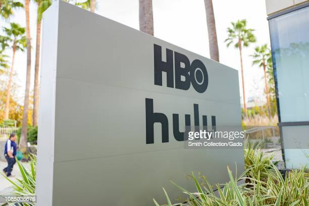 Sign with logos for Home Box Office and Hulu streaming service at regional headquarters in the Silicon Beach area of Los Angeles, California,...