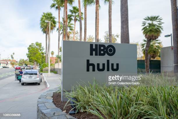 Sign with logos for Home Box Office and Hulu streaming service at regional headquarters in the Silicon Beach area of Los Angeles California December...