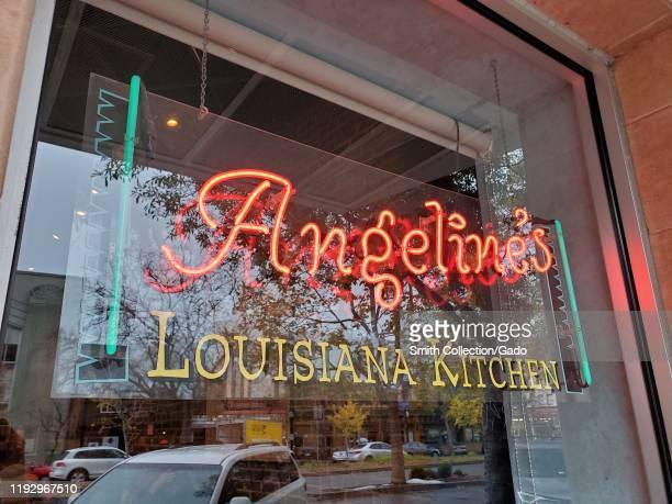 Sign with menu outside Angeline's Louisiana Kitchen, a cajun restaurant in the North Shattuck neighborhood of Berkeley, California, November 30,...