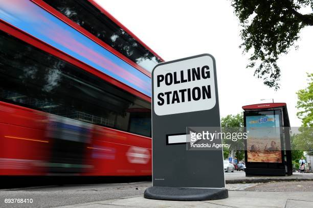 A sign with Polling Station is seen during voting in the General Election in London United Kingdom on June 08 2017
