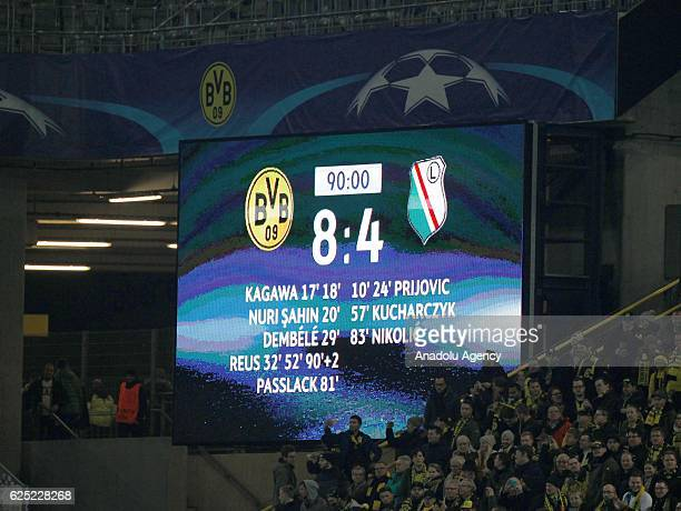 A sign with the final score of 84 is seen during the UEFA Champions League group F soccer match between Borussia Dortmund and Legia Warsaw which was...