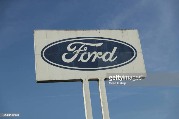 A sign with the Ford company logo stands outside the Ford car factory on March 15 2017 in Saarlouis Germany Saarlouis is in the industrial heartland...