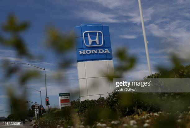 Sign with the Honda logo is posted in front of Marin Honda on July 25, 2019 in San Rafael, California. The State of California and four of the...