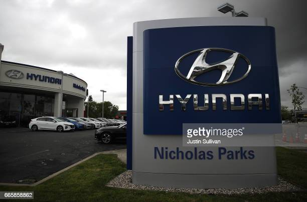 A sign with the Hyundai logo displayed at a Hyundai dealership on April 7 2017 in San Leandro California South Korean automakers Kia and Hyundai...