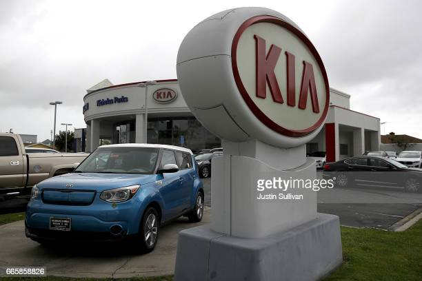 A sign with the Kia logo displayed at a Hyundai dealership on April 7 2017 in San Leandro California South Korean automakers Kia and Hyundai...