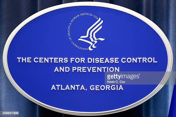 A sign with the logo for the Centers for Disease Control and Prevention at the Tom Harkin Global Communications Center on October 5 2014 in Atlanta...