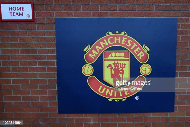 Sign with the logo of Manchester United is seen outside the stadium prior to the Group H match of the UEFA Champions League between Manchester United...