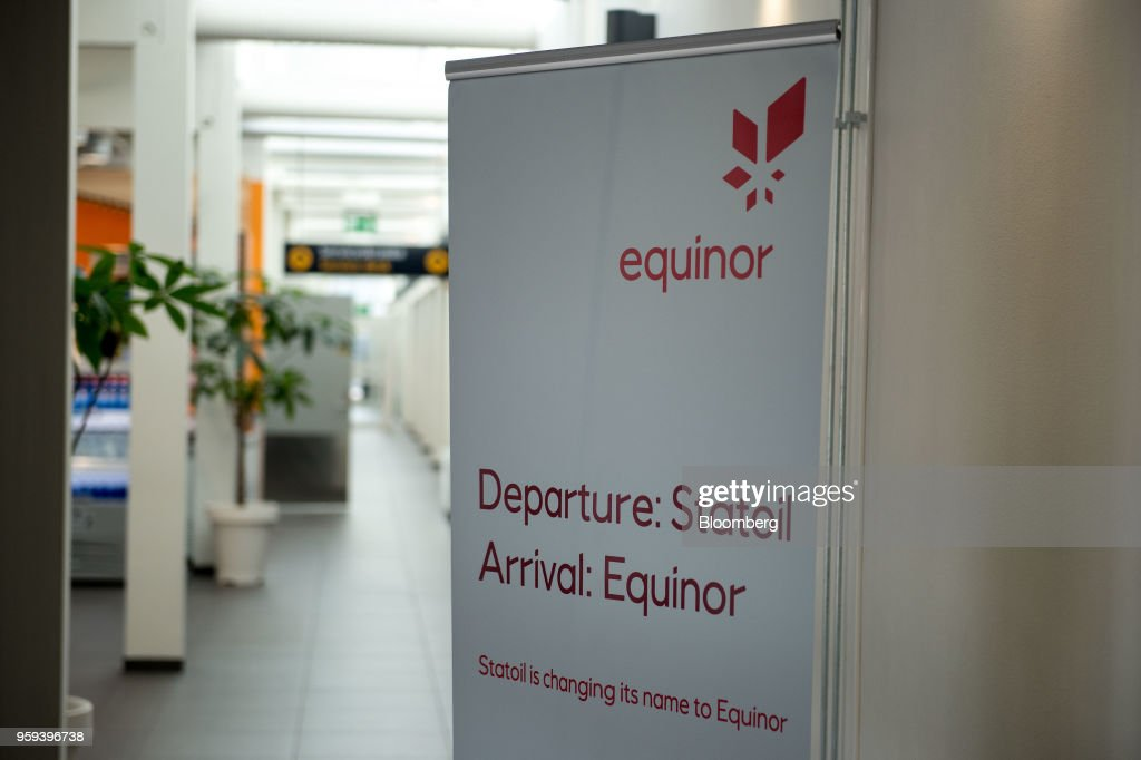A sign with the new Equinor ASA logo stands at an airport in Stavanger, Norway, on Wednesday, May 16, 2018. Statoil has changed its name toEquinorto reflect its mutation into a broader energy company.Photographer: Carina Johansen/Bloomberg via Getty Images