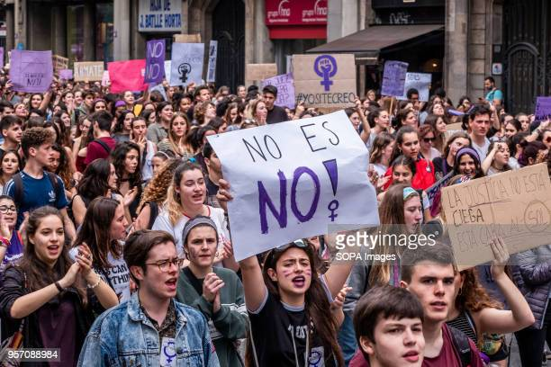 A sign with the text no means no is seen among the protesters Under the slogan it's not abuse it's rape more than 5000 high school and university...