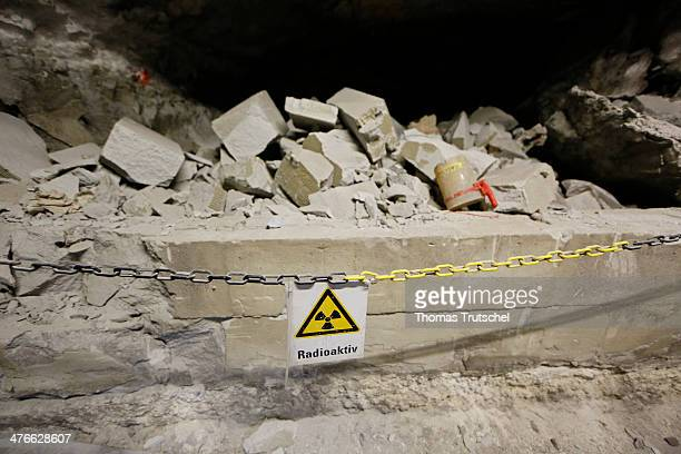 A sign with the word ' radioactiv ' is pictured in a tunnel of the ' Asse ' mine on March 4 2014 in Remlingen Germany A former salt mine in the...