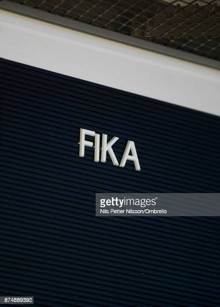 Sign with the words Fika during the Sime Awards at Epicenter on November 16 2017 in Stockholm Sweden