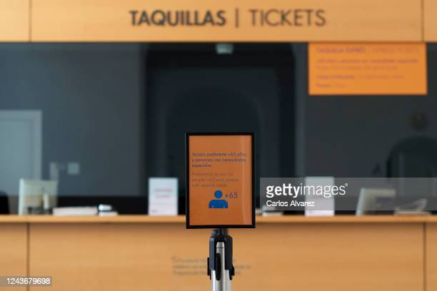 Sign with the words 'Preferential access for poeple +65 and people with special needs' is seen at the Reina Sofia Museum during a press preview...