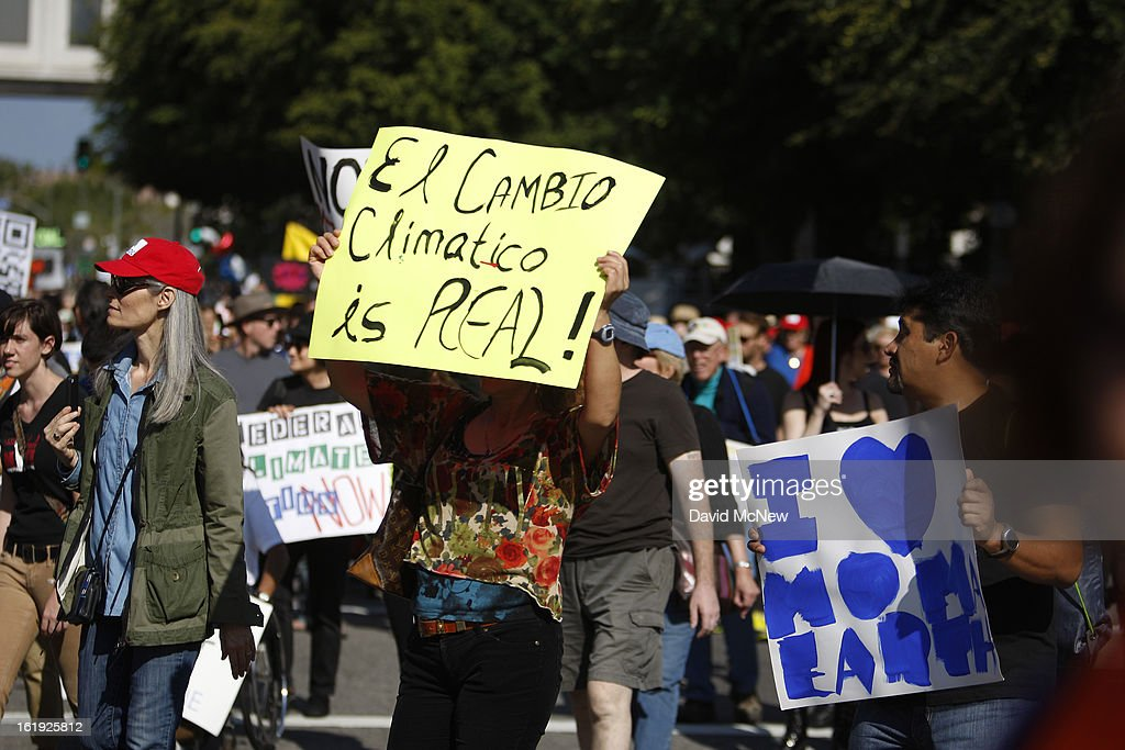 A sign written in Spanglish declares that climate change is real at the 'Forward on Climate' rally to call on President Obama to take strong action on the climate crisis on February 17, 2013 in Los Angeles, California. Organizers say the rally, which is led by Tar Sands Action Southern California and Sierra Club, is composed of a coalition of over 90 groups and coincides with similar rallies in Washington D.C. and other U.S. cities.