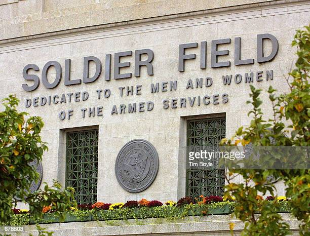 Signage above the main entrance to Soldier Field home of the Chicago Bears football team is displayed November 1 2001 in Chicago Chicago Mayor...