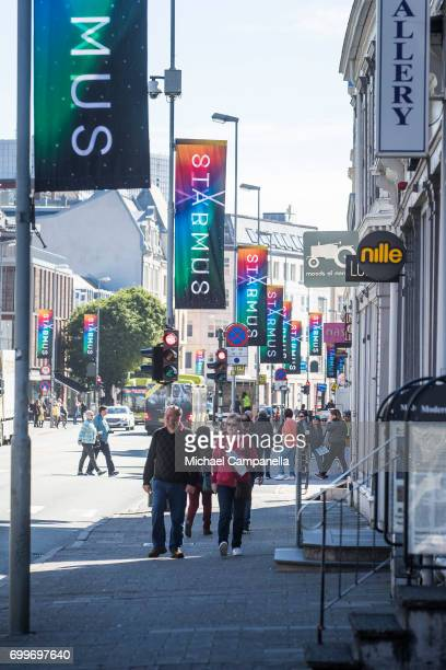Signage advertising the 2017 Starmus Festival affixed to lampposts on June 22 2017 in Trondheim Norway