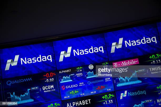 Signage and data are displayed on monitors at the Market Intelligence Desk inside the Nasdaq MarketSite in New York US on Thursday Aug 18 2016 US...