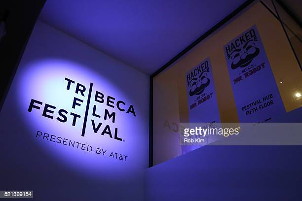 Signage and logo at the Hacked By Def Con Press Preview during the 2016 Tribeca Film Festival at Spring Studios on April 15, 2016 in New York City.