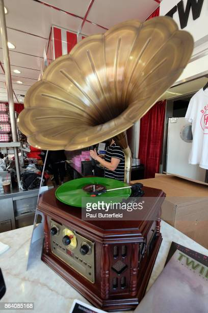 Signage and merchandise is seen at Showtime's Twin Peaks Double R Diner PopUp on Melrose Avenue on October 20 2017 in Los Angeles California
