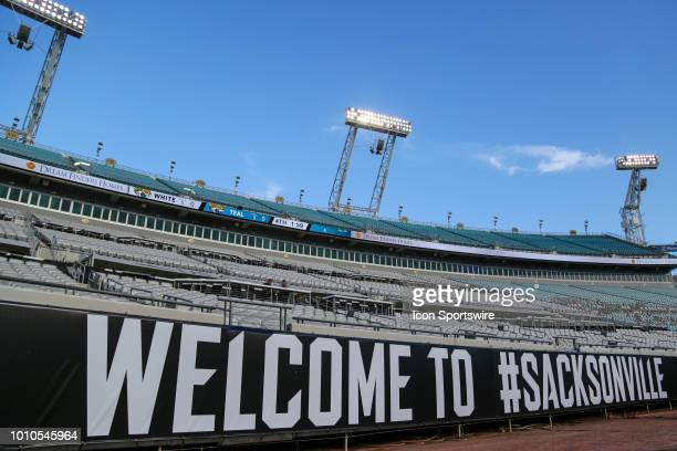 Signage around the field during the Jacksonville Jaguars Training Camp on August 3 2018 at Finders Homes Practice Complex at TIAA Bank Field in...