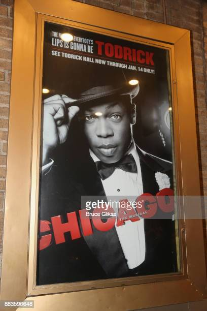 Signage as Todrick Hall takes his first bow as Billy Flynn in the long running hit musical Chicago on Broadway at The Ambassador Theatre on November...
