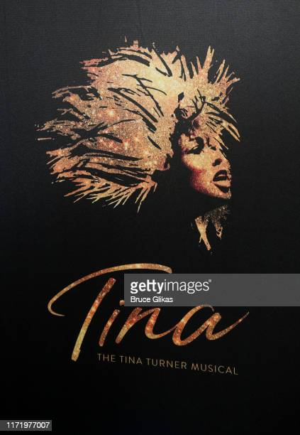 Signage at a photo call for the new broadway musical Tina The Tina Turner Musical at The New 42nd Street Studios on September 3 2019 in New York City