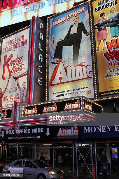 Signage at Annie on Broadway at The Palace Theater on May 15 2013 in New York City