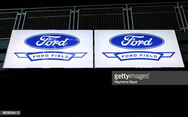 Signage at Ford Field home of the Detroit Lions football team in Detroit Michigan on October 12 2017
