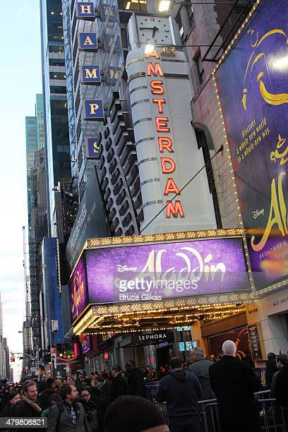 Signage at the Aladdin On Broadway Opening Night at The New Amsterdam Theatre on March 20 2014 in New York City