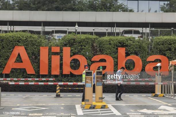 Signage at the Alibaba Group Holding Ltd. Headquarters in Hangzhou, China, on Monday, Aug. 2, 2021. Alibaba is scheduled to report first-quarter...