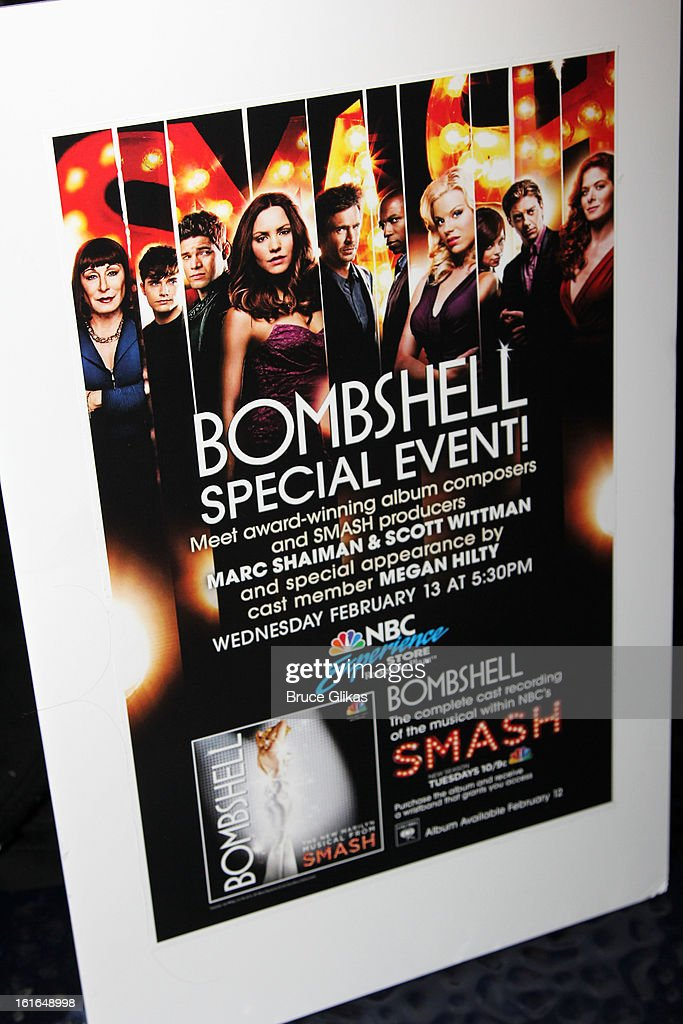 Signage at The 'Bombshell: The New Marilyn Musical from Smash Cast Recording' CD signing at NBC Experience Store on February 13, 2013 in New York City.