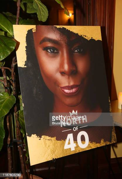 Signage at the celebration for the North of 40 Podcast Launch at Dapper Dan Atelier on November 14 2019 in New York City
