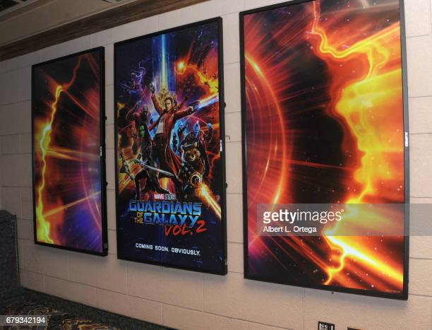 Signage at the El Capitan Theatre Hosts Screening Of Disney And Marvel Studios' Guardians Of The Galaxy Vol 2 held at El Capitan Theatre on May 4...