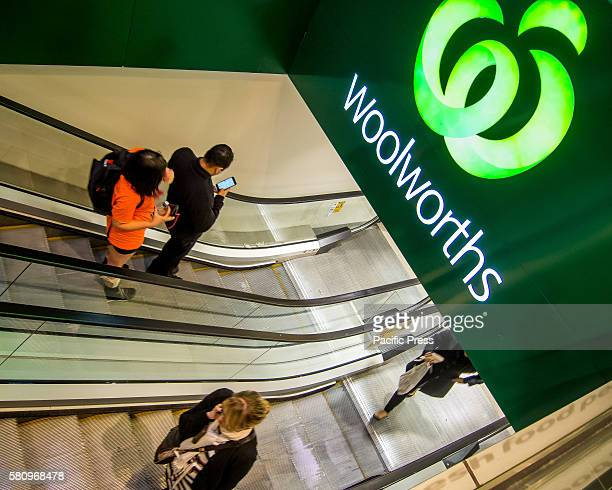 Signage at the entrance to Woolworths' Sydney Metcentre Store as Woolworths revealed 500 jobs will go in back office and supply roles as part of an...